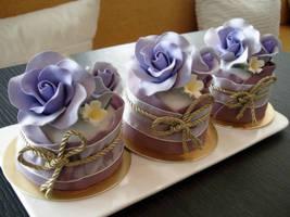 Violet Rose Mini Cakes by Sliceofcake