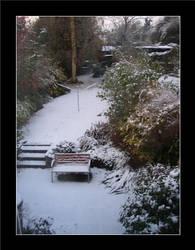Snowfall in the suburb garden by davidduke