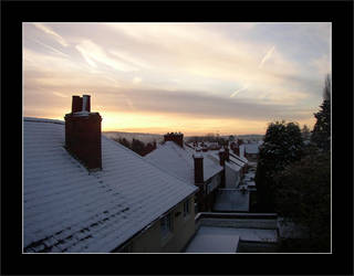 Snowfall in on suburb rooftops by davidduke