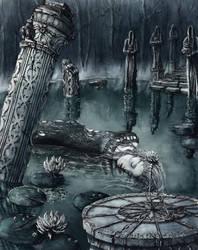 Fantasy Pond by GrimDreamArt