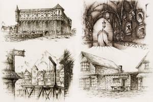 Pen Buildings by GrimDreamArt