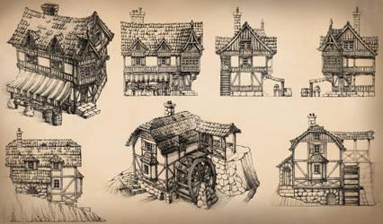 Medieval Buildings by GrimDreamArt