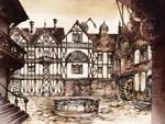 Steampunk Town Square by GrimDreamArt