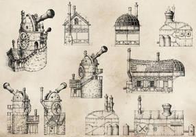 Steampunk Sketches by GrimDreamArt