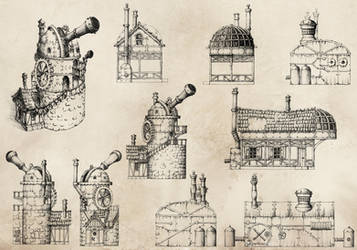 Steampunk Sketches by GrimDreamArt