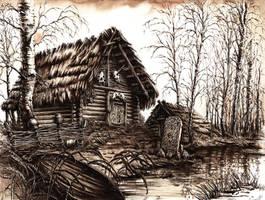 Slavic Hut by GrimDreamArt