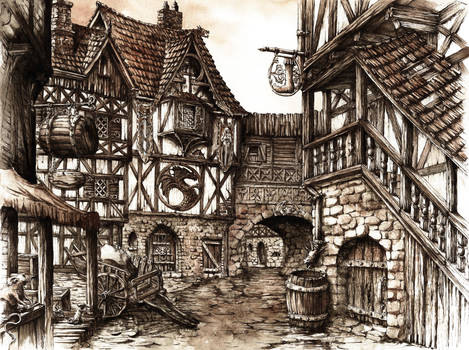 Medieval Town by GrimDreamArt