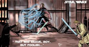 Dooku duels Jedis by mrinal-rai