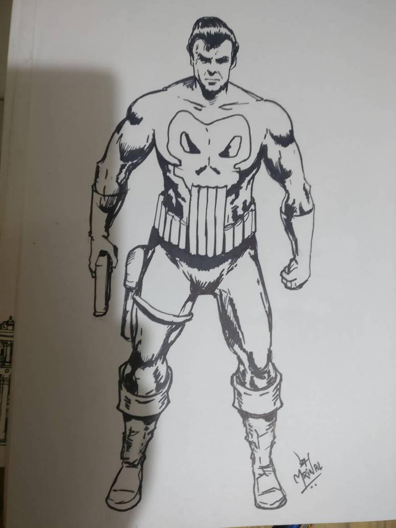 the Punisher drawn as daily sketch challenge by mrinal-rai
