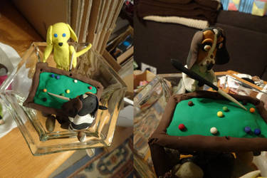 Dogs Playing Pool by Atlantagirl