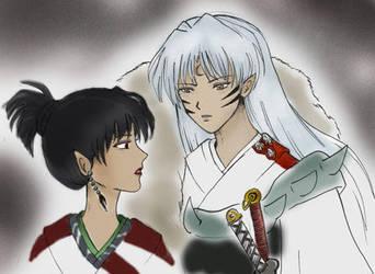 Sesshoumaru and Kagura by DarkNowa