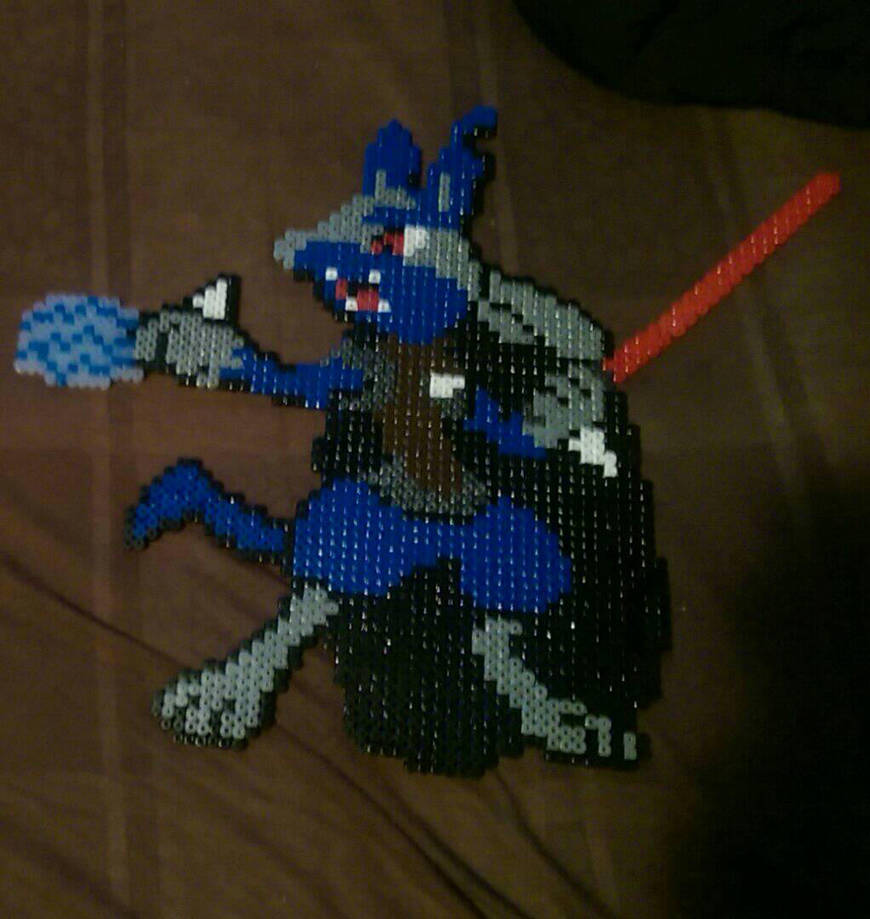 sith lord lucario star wars Pokemon mix perler  by Nastiwolf