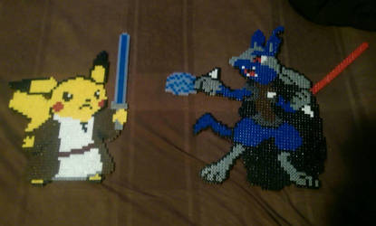 Jedi master pikachu vs sith lord lucario star wars by Nastiwolf