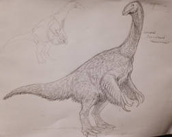 Two-Clawed Therizinosaur Sketch by Ashere