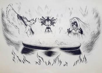 Fire burn and cauldron bubble by listlessscrawls