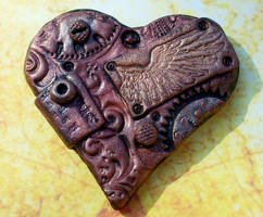 Steampunk Heart Brooch by ValerianaSolaris
