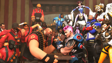 Arm wrestling: Heavy vs. Zarya by DarknessRingoGallery