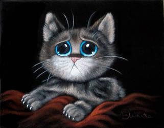 Sorrowful Kitten Black Velvet Painting by BruceWhite