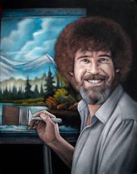 Bob Ross black velvet painting by BruceWhite