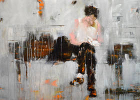 A man and his book (SOLD) by Acrymat