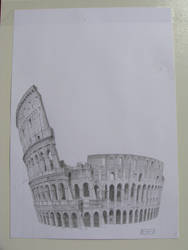 Colosseo 3D drawing from above by dominikmellen
