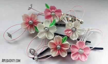 Cherry Blossom Kanzashi Pins by AppleDainty