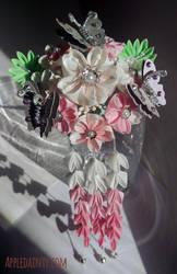Cherry Kanzashi Cluster Hair Fork by AppleDainty