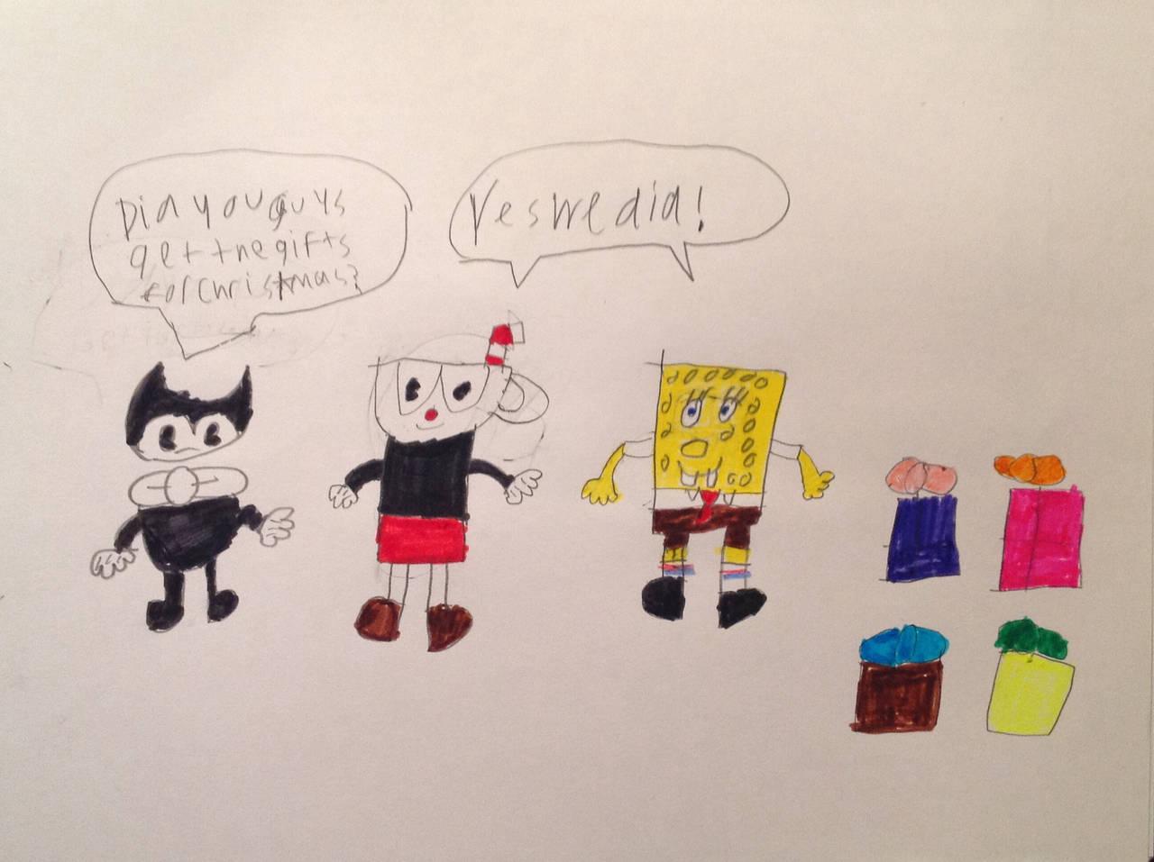 Spongebob Meet Bendy Deviantart: Bendy Asking Spongebob And Cuphead About Presents By
