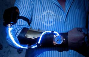 Steampunk bracer (blue on) by LahmatTea