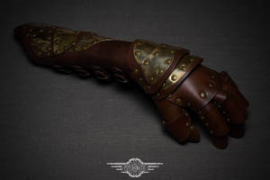 Steampunk leather glove by LahmatTea