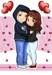 Chibi Pareja Love by Yazashy