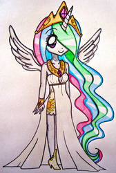 Human Princess Celestia by sekaiichihappy