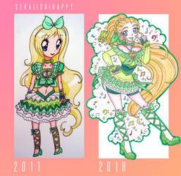 Cure Harmony 2011 vs 2018 by sekaiichihappy