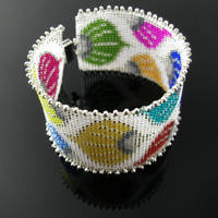 Talavera inspired bead loomed bracelet by CatsWire