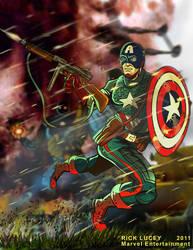Captain America WWII Battle Scene by Drawrick