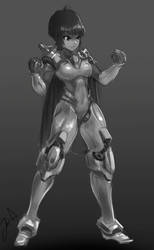 Random Mech - cyborg character by HARU10