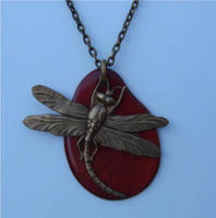 Tagua Nut and Brass Dragonfly by FusedElegance