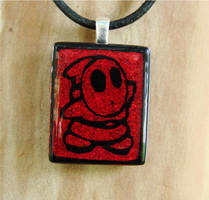 Red Shy Guy Fused Glass by FusedElegance
