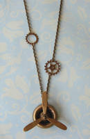 Steampunk Propeller Necklace 2 by FusedElegance