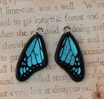 Glass Blue Butterfly Earrings by FusedElegance