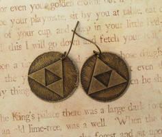 Triforce Earrings Antiqued Brass by FusedElegance
