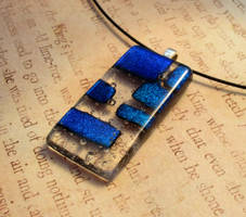 Clearly Blue Fused Glass Pendant by FusedElegance