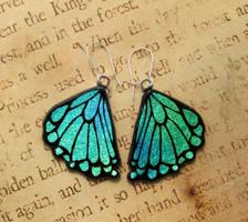 Glass Rear Butterfly Wing Earrings by FusedElegance