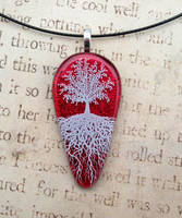 Red Sky Tree of Life Fused Glass Pendant by FusedElegance
