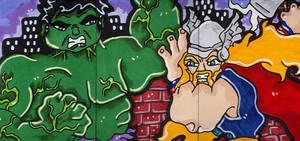 Hulk versus Thor by CassieJ787