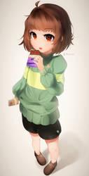 Small Chara eating MTT Chocolate by Sasoura