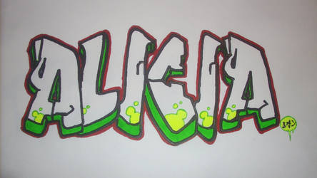 Alicia Graffiti Painting on Paper second one by utubedesignz