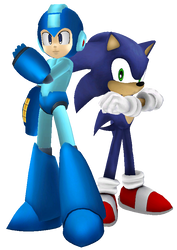 Megaman and Sonic by Ch40sKnight