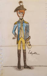A colored sketch of Lafayette w/ signature by Tiggidou