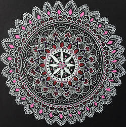 Pink Mandala Pen Drawing by michelledh